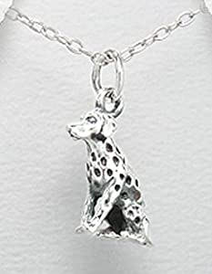 925 St Sterling Silver Dalmatian Dog Fireman Pet Pendant Necklace Jewelry 3/4 x 3/8 Inches With A Beautiful Heavily Plated Sterling Silver Chain