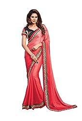Texclusive Women's pure crepe jacquard saree.