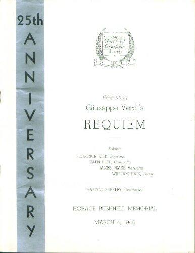 Verdi Requiem Hartford Oratorio Society Program 1946 Ct