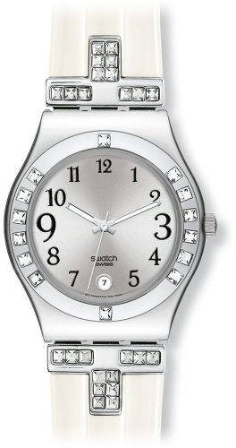 Swatch Ladies Fancy Me Silver Dial White Silicone Strap Watch