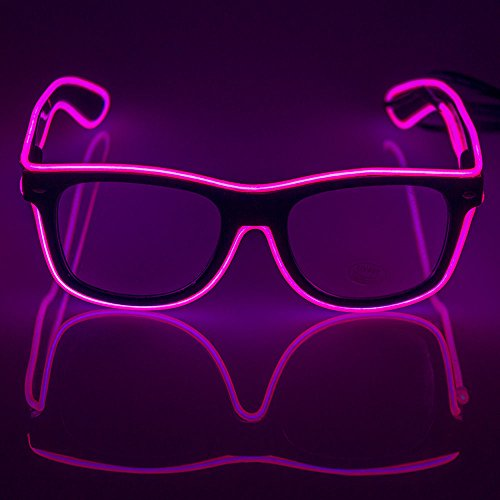 Fronnor Light Up El Wire Glasses Flashing Rave Fashionable Glasses With DC-3V Sound Active Driver for Costume Party Festival(Pink)