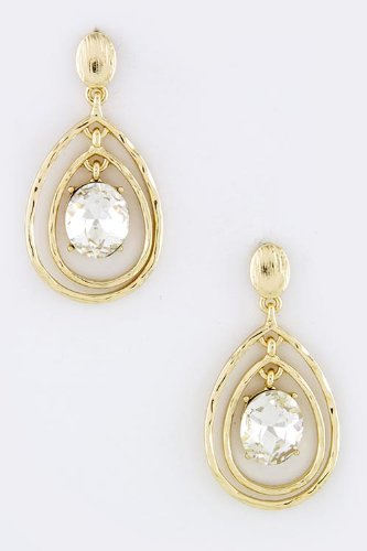 Karmas Canvas Round Crystal Dimpled Earrings (Gold) front-1069212