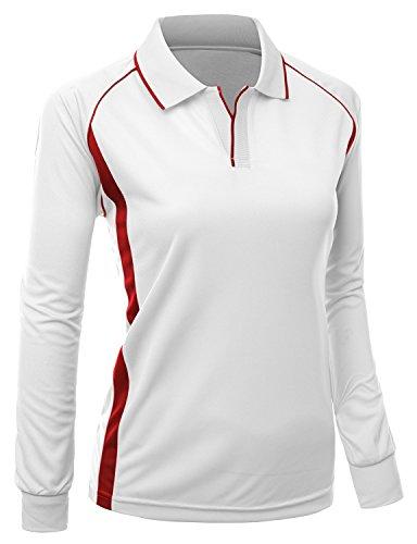 Women Coolon fabric Long sleeve 2 tone collar T shirts WHITE