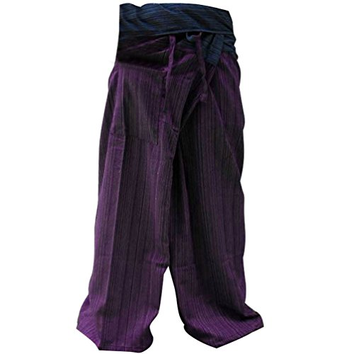 2 Tone Thai Fisherman Pants Yoga Trousers Free Size Cotton B