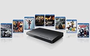 Sony BDP-S185 Blu-ray Disc / DVD player starter pack with 8 Blu-ray movies