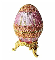 Rose Pink 24K Gold Swarovski Crystals Faberge style Egg Box with Ring Insert Figurine