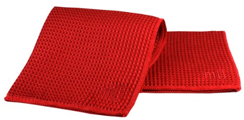 MU Kitchen Waffle Dish Cloths, Set of 3, Red