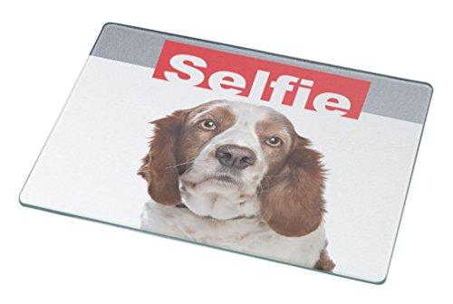 Rikki KnightTM Selfie Brown Springer Spaniel Dog Small glass Cutting board