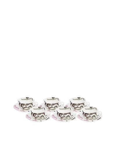 Elinno Set of 6 Morning Flirt Teacups and Saucers, White/Multi
