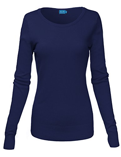 Basic Crew Neck Long Sleeve Soft Sweater Knit Tops,012-Navy,US S