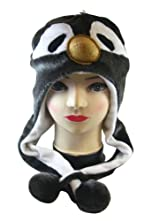 Plush Penguin Animal Hat - Penguin Hat with Ear Flaps and Poms