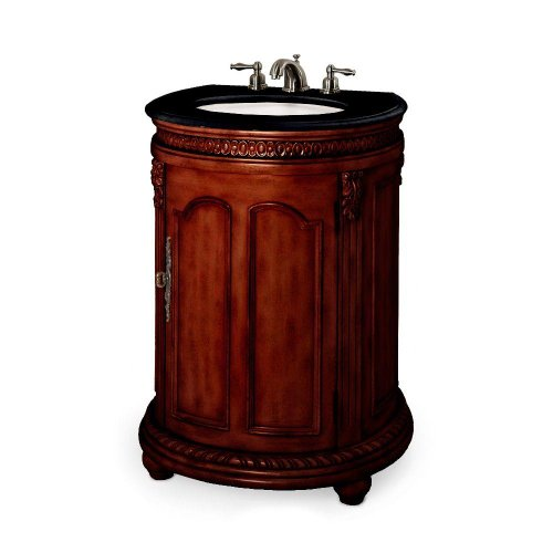 Kendall 25 Inch Antique Cherry Single Sink Cabinet with Black Granite Top, 25