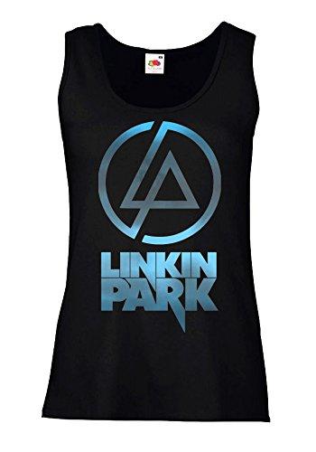 "Canotta Donna ""Linkin Park - Sky Texture"" - 100% cotone LaMAGLIERIA, L, Nero"