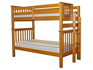 Bedz King Tall Mission Style Bunk Bed with End Ladder, Twin Over Twin, Honey