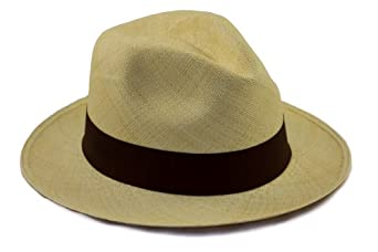 Tumi Genuine Panama Hat. Rollable / Foldable hand woven from natural straw. Fair Trade. Range of Colours. Amazingly breathable and light sun hat, by Tumi the UK's leading Panama Hat producer. (54cm, Brown)