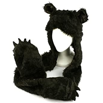 Winter Faux Fake Fuzzy Animal Fur Scarf Trapper Hat w/ Paw Gloves Mittens Black