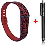 Smart Tech Store Skulls And Bones Pirates Red Color Replacement Band With Clasp For Fitbit FLEX Only /No Tracker/ Wireless Activity Bracelet Sport Wrist Band For Fit Bit Flex Bracelet Sport Arm Band Armband (Large), Large/Skulls & Bones Red
