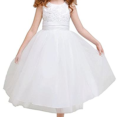 Little Girls' Lace Accented Satin Top Tulle Overlaid Flower Girls Dresses