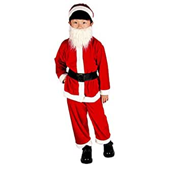 WenMei Kids Santa Claus Fancy Costume Christmas Cap+Beard+Belt+Top+Pants for Boys