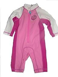 Sun Smarties UV Zip Surf Suit (Pink/ Fuchsia Flower Logo) Size 18M