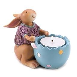 Snuggle Bunny Easter Tealight Egg Shape Candle Holder