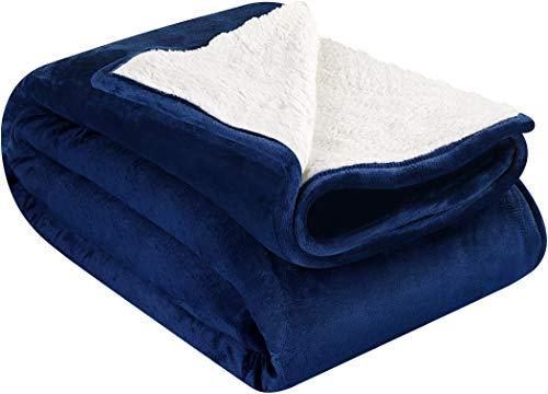 Utopia Bedding Sherpa Flannel Fleece Reversible Blankets (6, Navy)