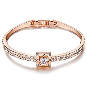 Menton Ezil Spiritual Guidance 18K Rose Gold Plated Polished Hinged Bangle Bracelet
