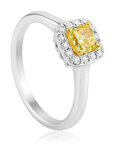 Bouquet 5/8 Carat Fancy Yellow Radiant Diamond/18K White Gold Ring