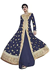 Justkartit Women's Blue Colour Anarkali Style Floor Length Wedding Wear Gown / Authentic Zari Embroidery Engagement Wear Gown / Designer Party Wear Dress Material (DUAL BOTTOM - SIMPLE & LEHENGA STYLE BOTTOM)