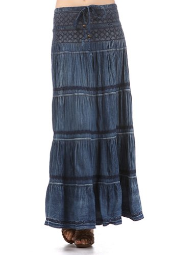 Modern Kiwi Emma Embroidered Denim Dress / Skirt Blue Denim One Size
