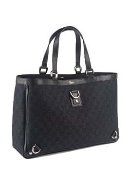 "Gucci Large Monogram Black Canvas ""Abbey"" Tote Bag"