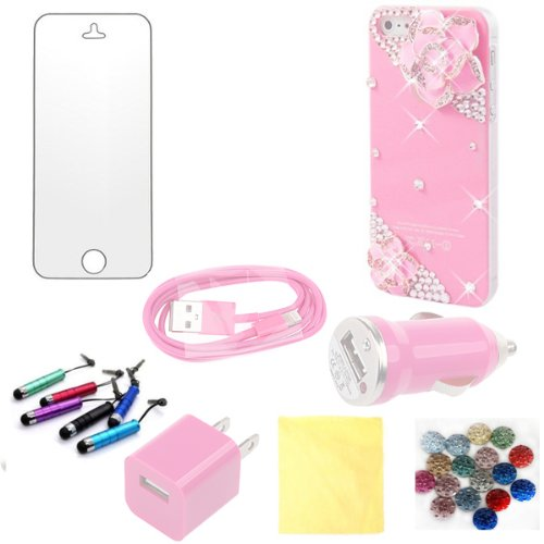 (TRAIT) 8in1 Pink Bling Case 3D crystal Luxury DIY diamond cases with Pink Bowknot for iphone5 cover +AC Wall charger+USB Data cable+Car Charger+ screen protector +Cleaning cloth+Touch Screen pen+button sticker