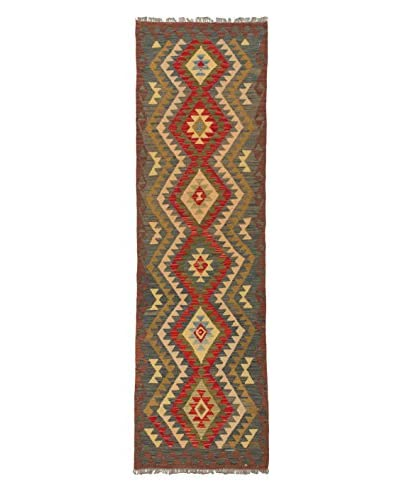 Hand-Woven Izmir Kilim, Brown/Red, 3' x 9' 11 Runner