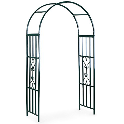 VonHaus Dark Green Metal Garden Arbor Trellis Arch Arbour for Gardening, Weddings, Gate and Plant Decoration