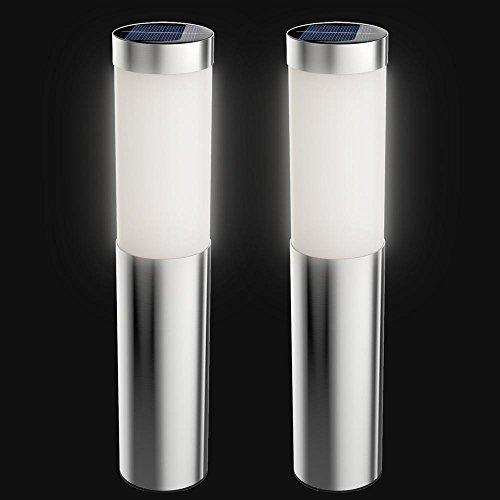 Artika I6 LED Stainless Steel Solar Bollard Lights, 6 LED 17 Lumens Per Light, Set of 2,