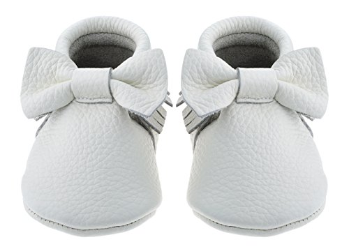 Sayoyo Baby White Bow Tassels Soft Sole Leather Infant Toddler Prewalker Shoes (0-6 months, White)