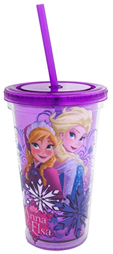 Silver Buffalo DP13087 Disney Elsa and Anna Back to Back BPA-Free Plastic Cold Cup with Lid and Straw, 16 oz., Purple