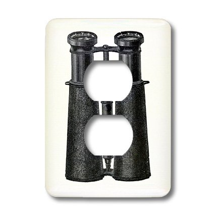 Lsp_174144_6 Florene - Vintage Ii - Image Of Antique Binoculars In Black - Light Switch Covers - 2 Plug Outlet Cover