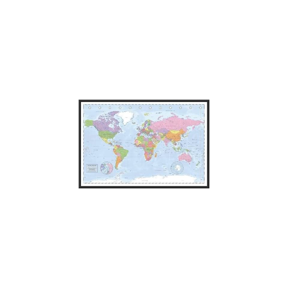 Framed World Map   Political 36x24 Dry Mounted Poster Wood Perfect For Push Pins Or Tracking Trips