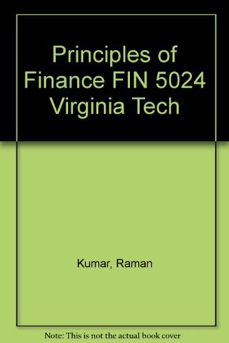 Principles of Finance FIN 5024 Virginia Tech