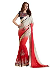 Inddus Women Red & Silver Colored Partywear Saree