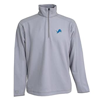NFL Mens Detroit Lions 3 4 Zip Fleece Pullover by Antigua