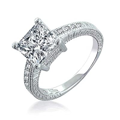 Bling Jewelry Sterling Silver 2.9 ct Princess CZ Engagement Ring