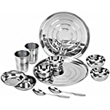 ROYAL SHAPPIRE Stainless Steel Dinner Set 12 Pcs (Glass, Curry Bowl, Desert Bowl, Spoon,Quater Plate And Full...