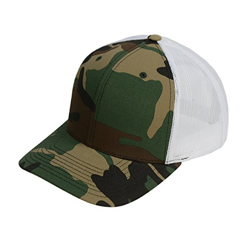Richardson Printed Twill Mesh Back Trucker with Adjustable Plastic Snapback (Camo White) (Richardson Baseball Caps compare prices)