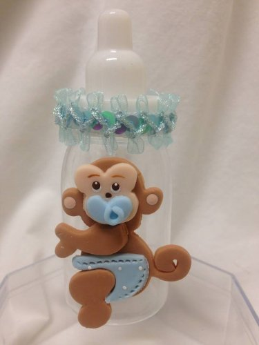 Jungle Safari Monkey Blue Boy Baby Shower Boy Favor Bottle front-45685