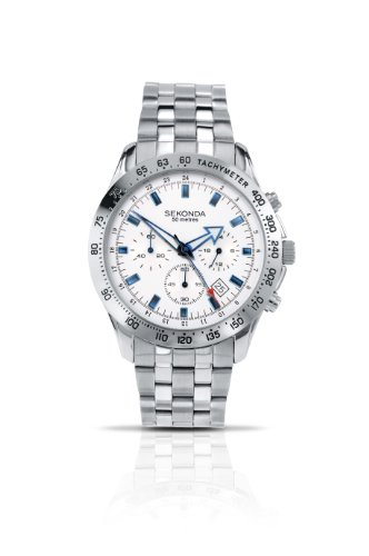 Sekonda Men's Quartz Watch with Silver Dial Chronograph Display and Silver Stainless Steel Bracelet 3349.27