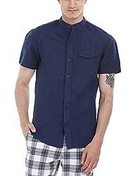 Zobello Men's Madarin Collar Linen Shirt(11087C_Navy_X-Small)