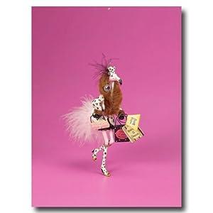 Pink Flamingo Fur Bling Tiki Bar Christmas Ornament