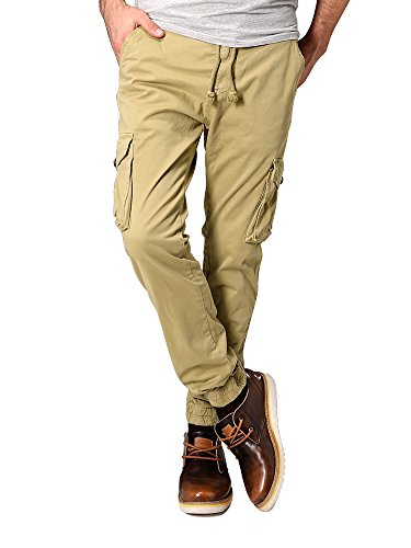 OCHENTA Men's Slim Fit Chino Jogger Cargo Pant #9037 Khaki Tag M - US 30 (39 Inch Men Khakis compare prices)